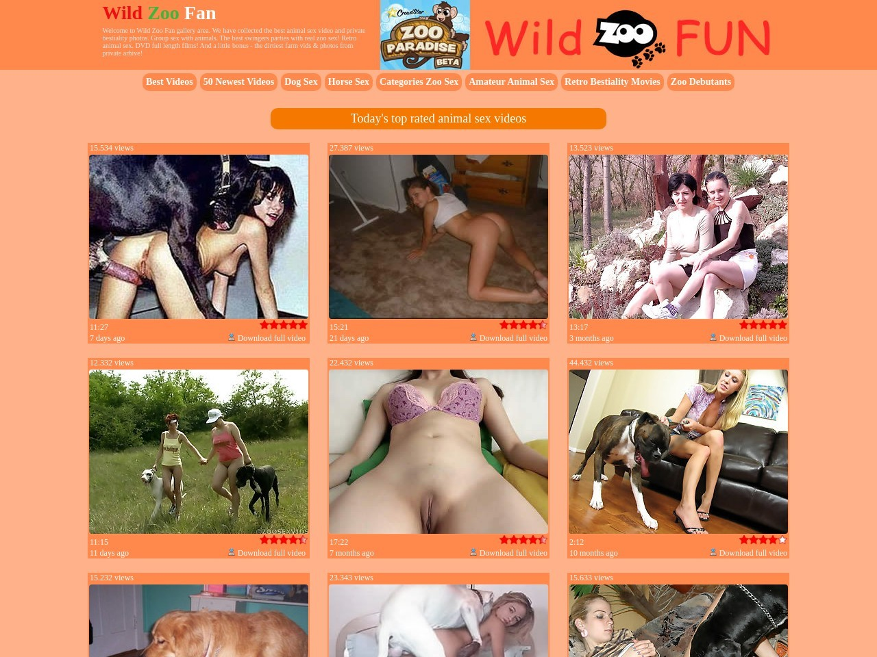 .:: Wild Zoo Fan ::. We have collected the best animal sex video and private bestiality photos. Group sex with animals. The best swingers parties with real zoo sex! Retro animal sex. DVD full length films! And a little bonus - the dirtiest farm vids