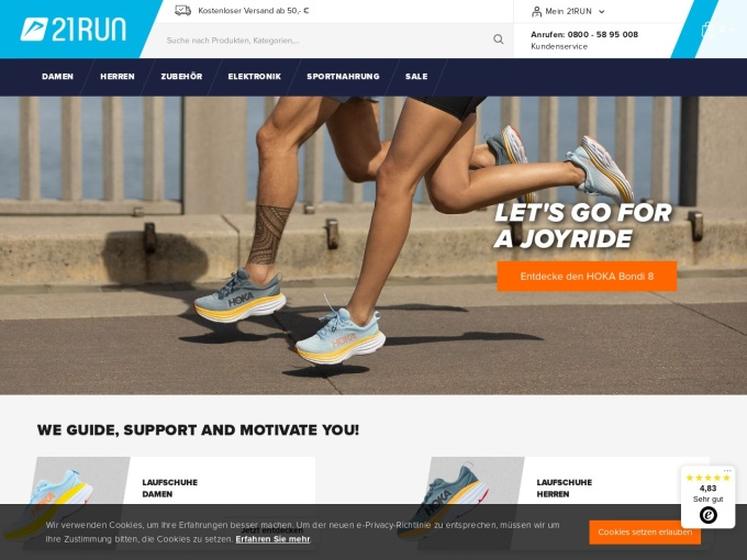 Screenshot des Onlineshops von 21RUN