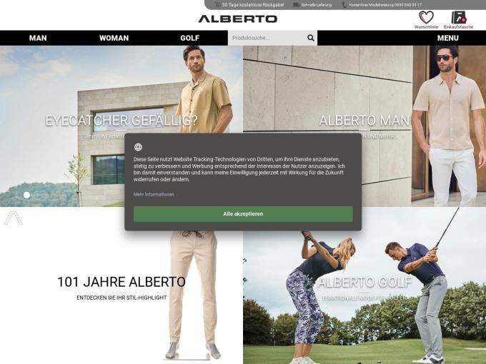 Screenshot des Onlineshops von ALBERTO