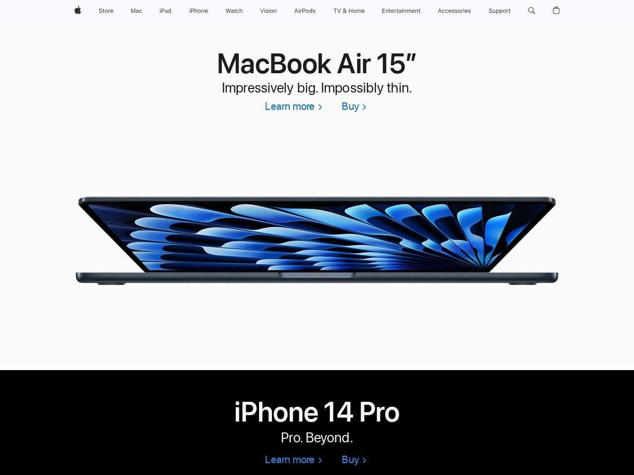 Apple的网站截图