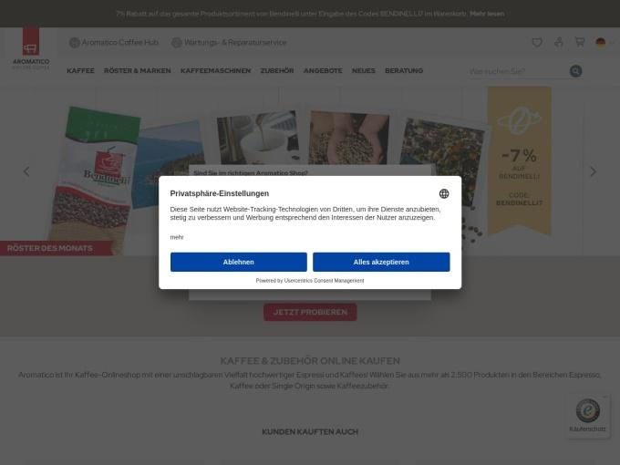 Screenshot des Onlineshops von Aromatico