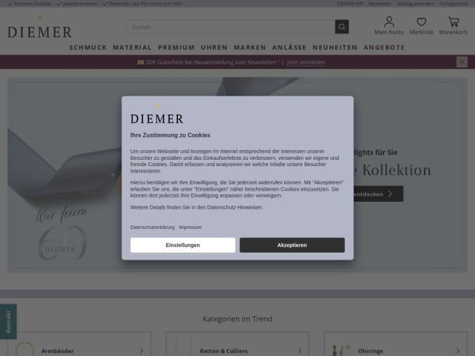 Screenshot des Onlineshops von DIEMER