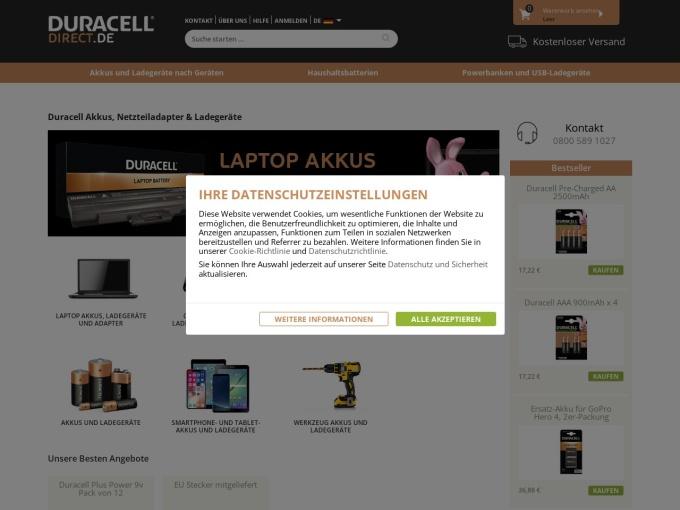 Screenshot des Onlineshops von Duracell