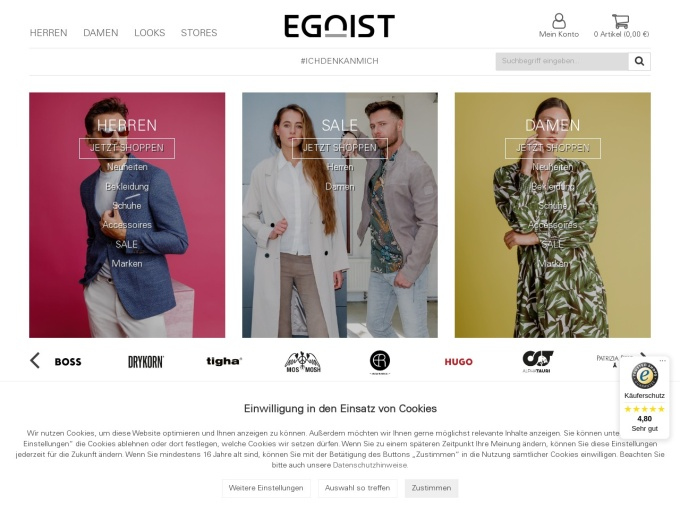 Screenshot des Onlineshops von EGOIST