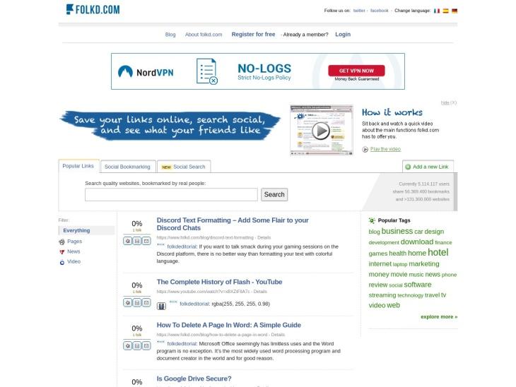 Social Bookmarking Dienst folkd.com