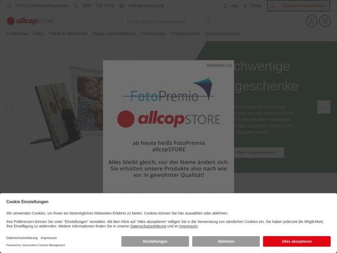 Screenshot des Onlineshops von FotoPremio