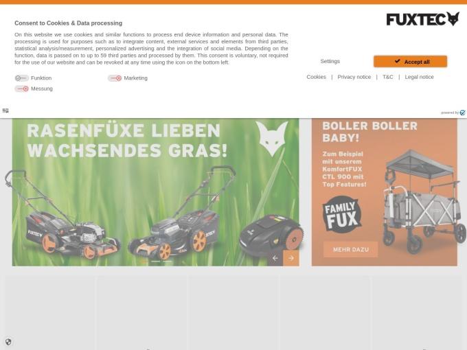 Screenshot des Onlineshops von FUXTEC