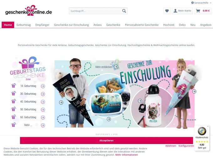 Screenshot des Onlineshops von Geburtstagsgeschenk online
