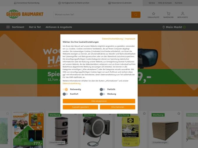 Screenshot des Onlineshops von Globus Baumarkt