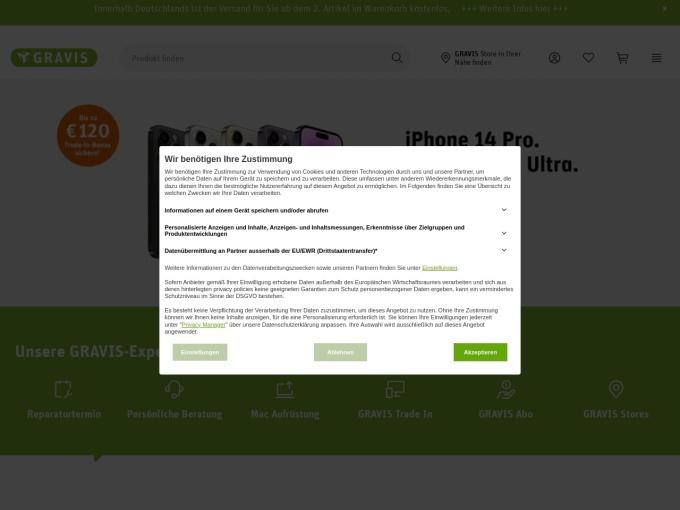 Screenshot des Onlineshops von GRAVIS