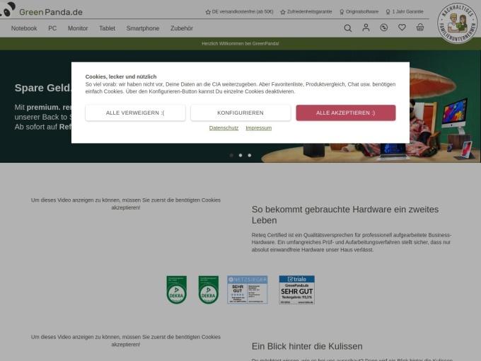 Screenshot des Onlineshops von GreenPanda