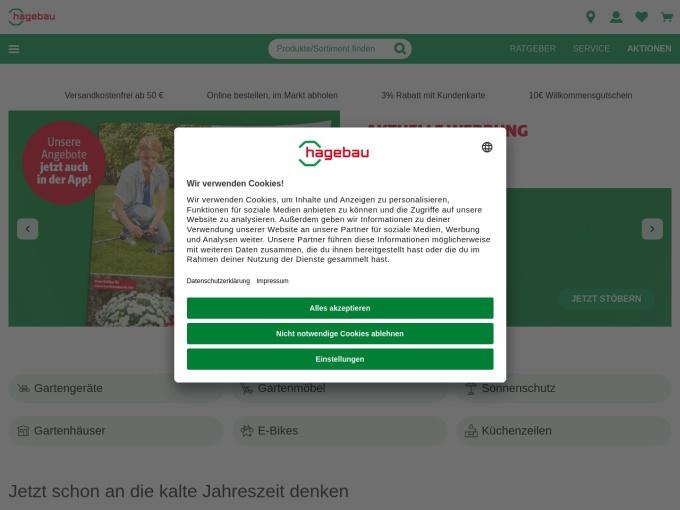 Screenshot des Onlineshops von hagebau