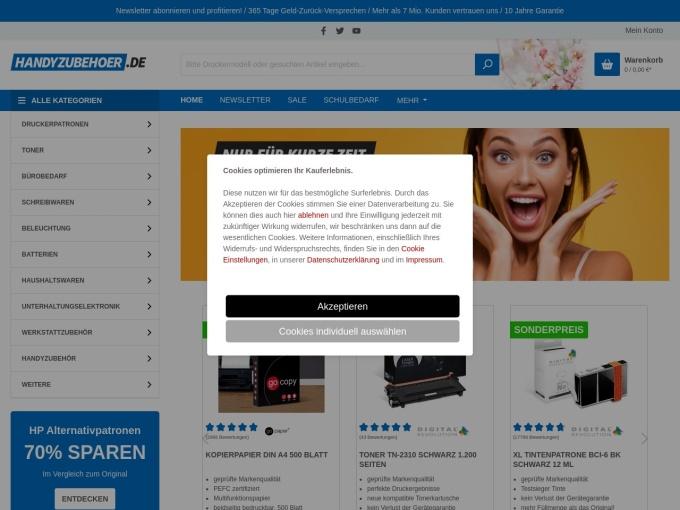 Screenshot des Onlineshops von handyzubehoer.de