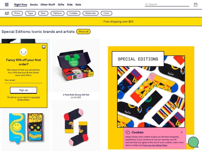 Screenshot des Onlineshops von Happy Socks