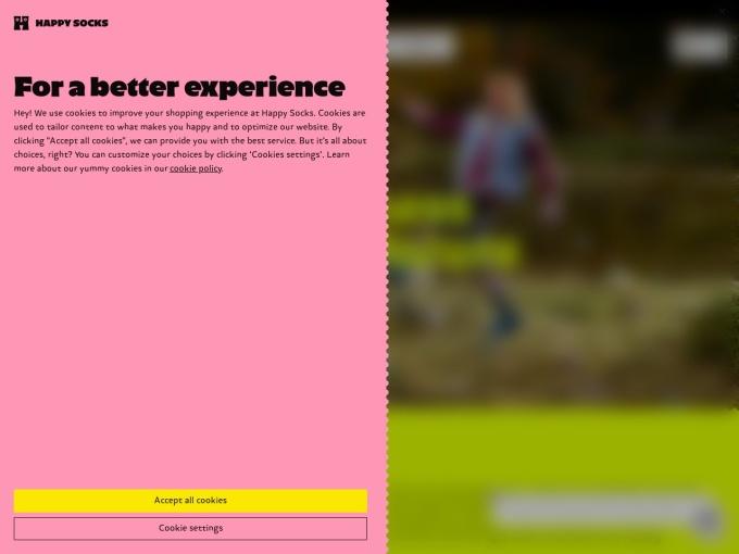 Screenshot des Onlineshops von Happy Socks