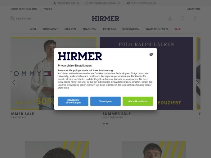 Screenshot des Onlineshops von HIRMER