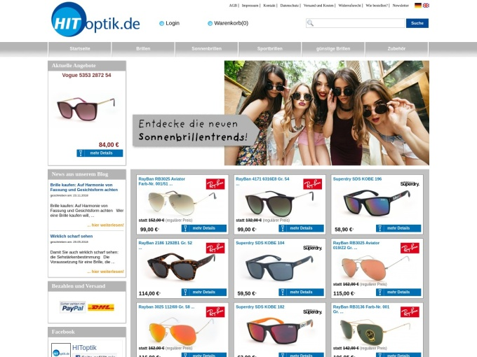 Screenshot des Onlineshops von HIT-optik