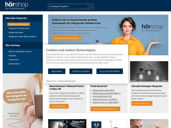 Screenshot des Onlineshops von HörShop