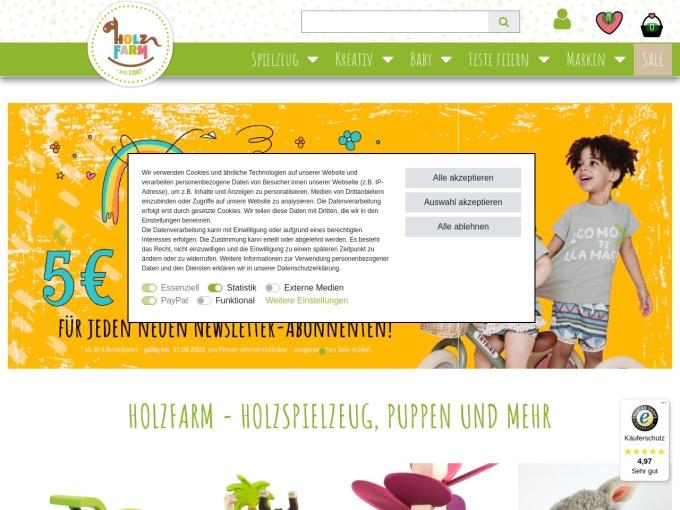 Screenshot des Onlineshops von Holzfarm
