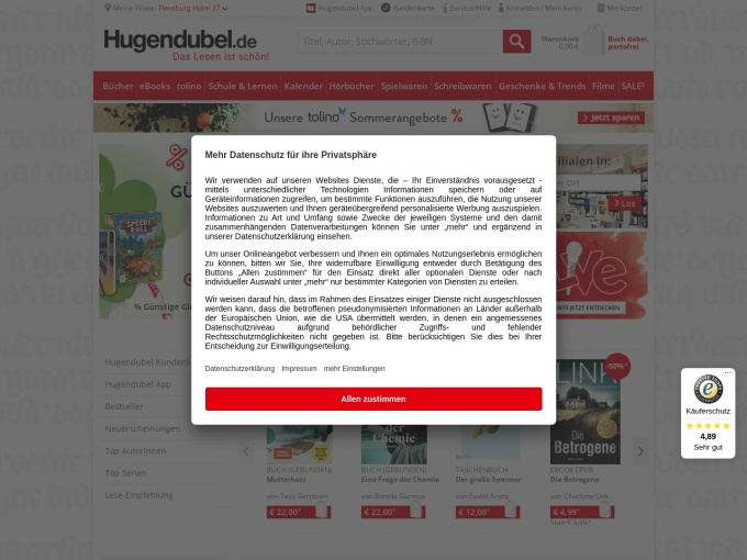 Screenshot des Onlineshops von Hugendubel