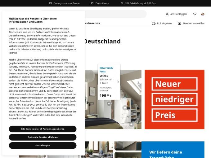 Screenshot des Onlineshops von IKEA