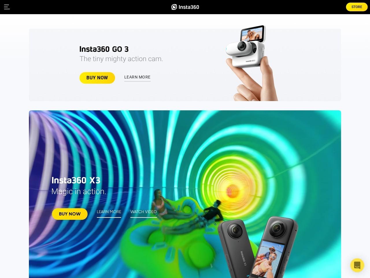 Insta360全景相机(深圳岚锋创视网络科技有限公司)网站主页截图