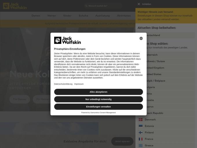 Screenshot des Onlineshops von Jack Wolfskin