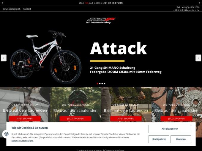 Screenshot des Onlineshops von KCP Bikes