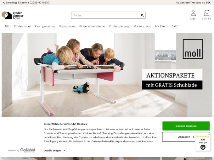 Screenshot des Onlineshops von Kinderzimmerhaus