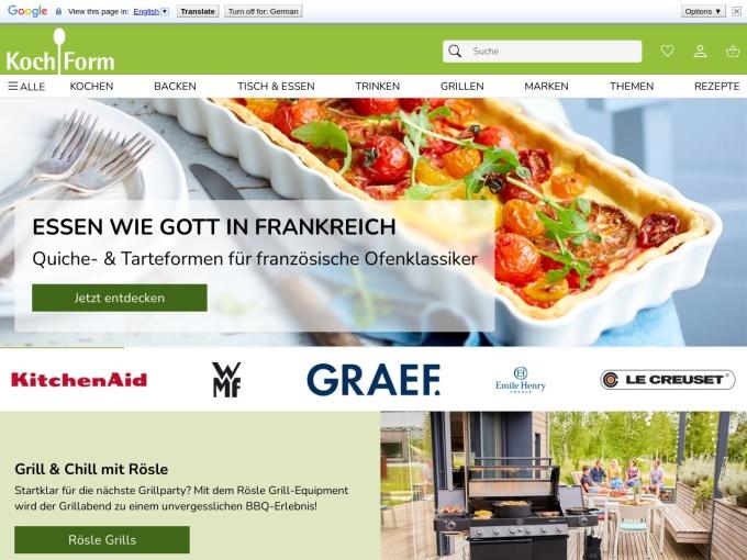 Screenshot des Onlineshops von KochForm