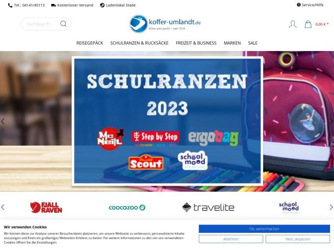 Screenshot des Onlineshops von Koffer Umlandt