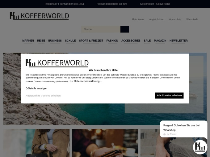 Screenshot des Onlineshops von Kofferworld