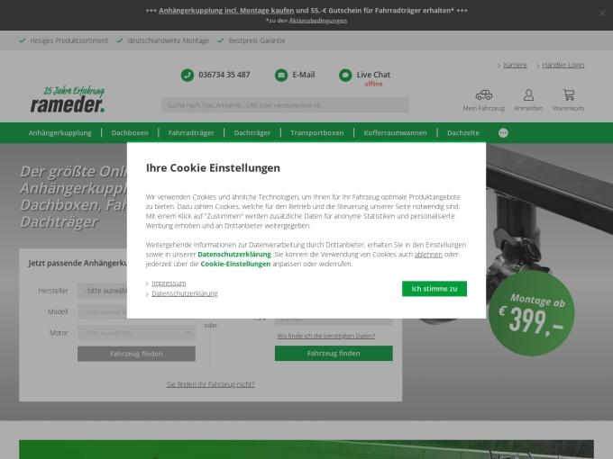 Screenshot des Onlineshops von Rameder