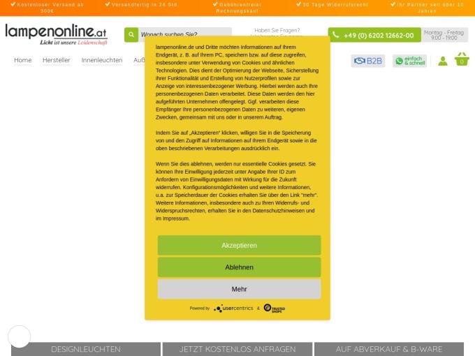 Screenshot des Onlineshops von Lampenonline