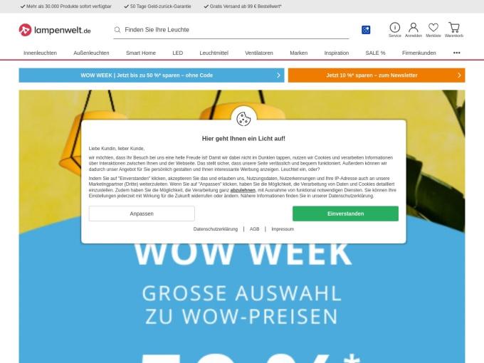 Screenshot des Onlineshops von Lampenwelt