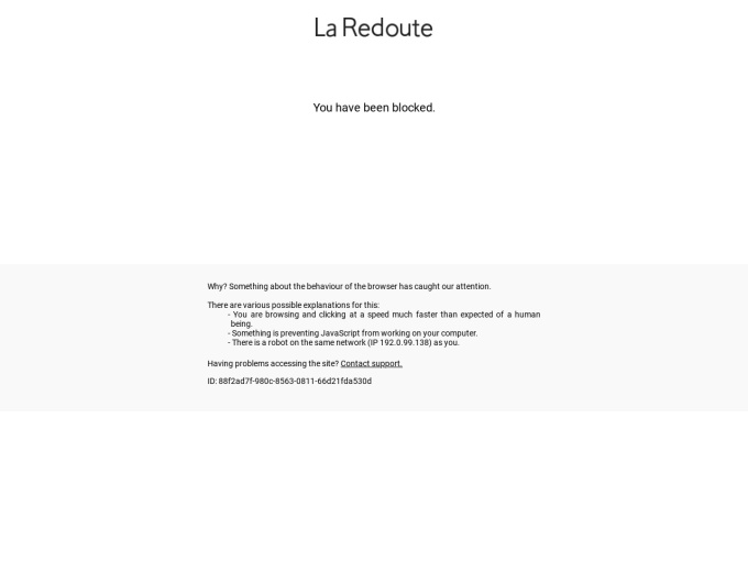 Screenshot des Onlineshops von La Redoute