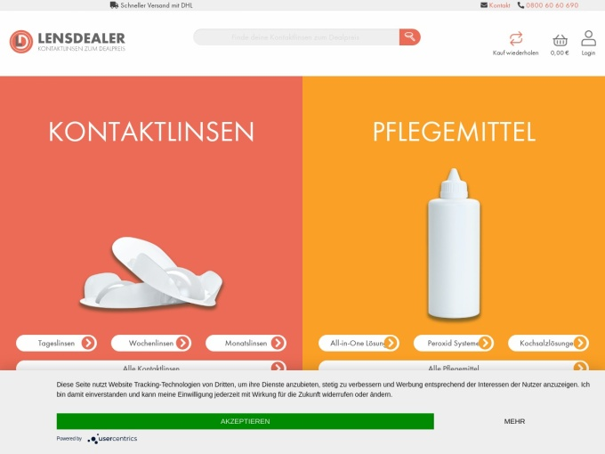Screenshot des Onlineshops von Lensdealer