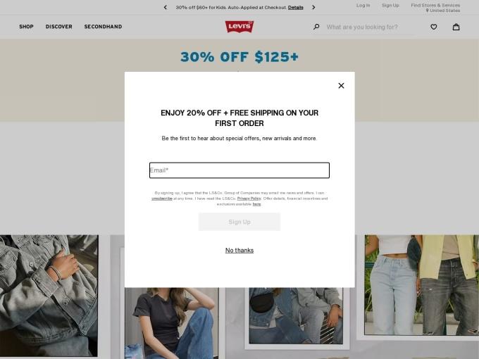Screenshot des Onlineshops von LEVIS