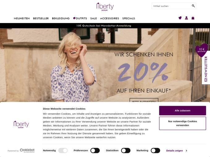 Screenshot des Onlineshops von liberty