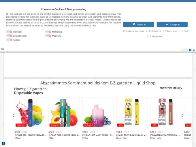 Screenshot des Onlineshops von Liquido24