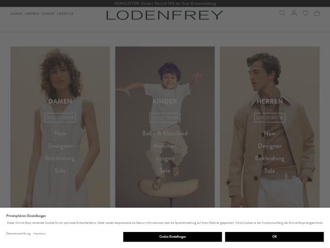Screenshot des Onlineshops von LODENFREY