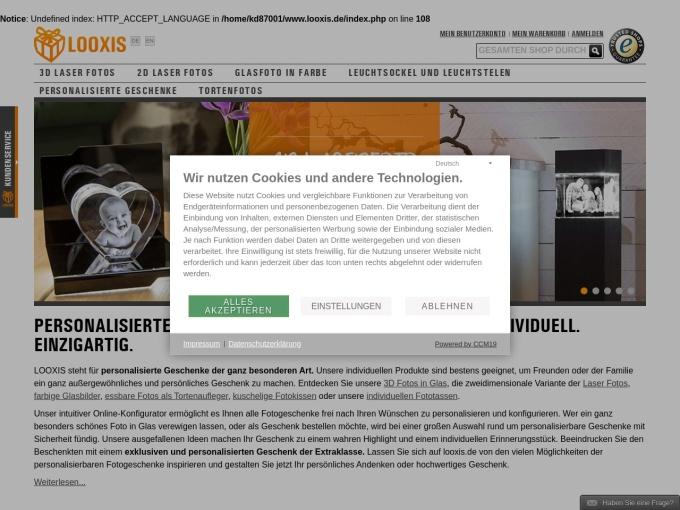 Screenshot des Onlineshops von LOOXIS