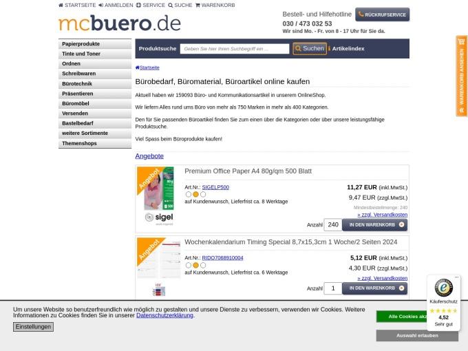 Screenshot des Onlineshops von mcbuero.de