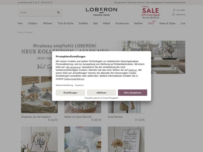 Screenshot des Onlineshops von mirabeau