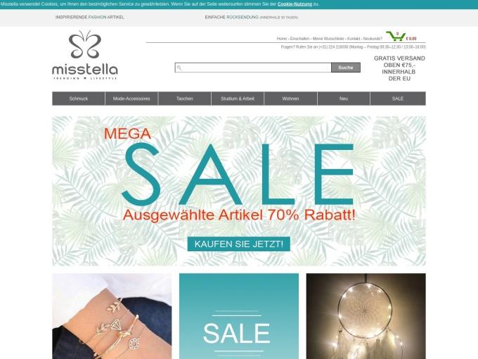 Screenshot des Onlineshops von Misstella