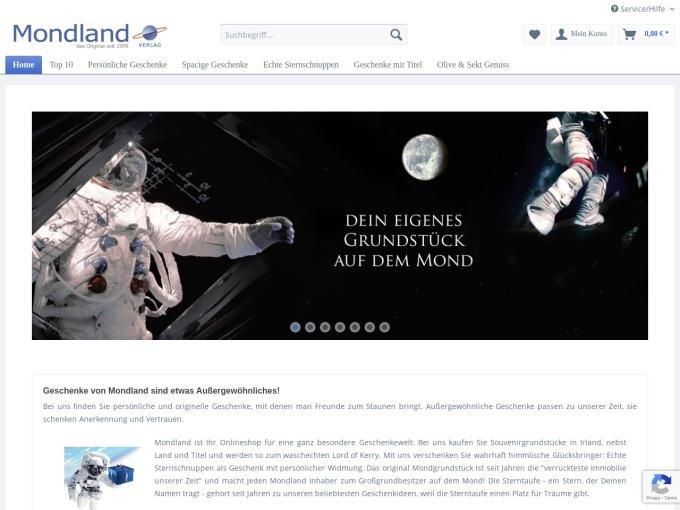 Screenshot des Onlineshops von Mondland