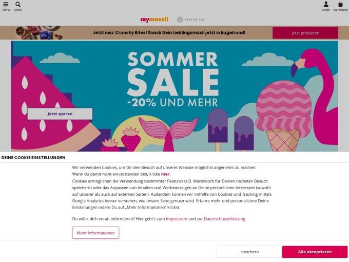 Screenshot des Onlineshops von mymuesli