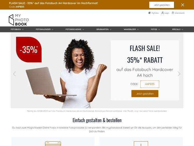 Screenshot des Onlineshops von myphotobook