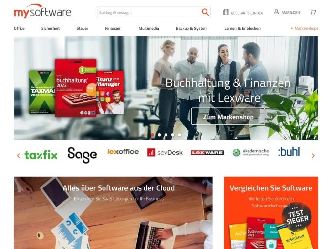 Screenshot des Onlineshops von mysoftware