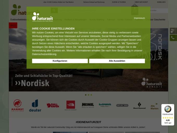 Screenshot des Onlineshops von naturzeit